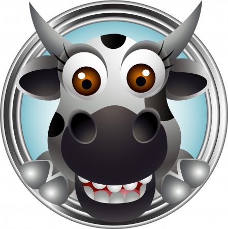 udder: cute cow head cartoon Illustration