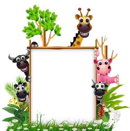 funny animal smiling with blank sign and tropical forest background Illustration
