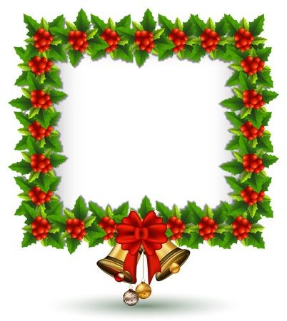 new year border: beauty Holly Christmas frame