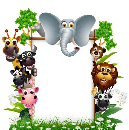 animales de la selva: funny animal con cartel en blanco