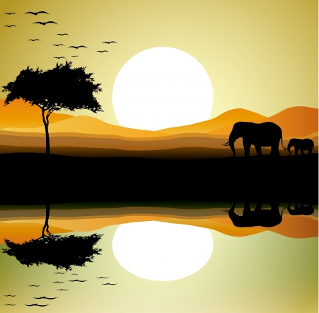 beauty safari of elephant with landscape background Ilustrace