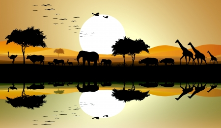 africa tree: beauty silhouette of safari animal Illustration