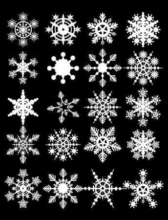 snowy background: Copo de nieve Vectores colecci�n