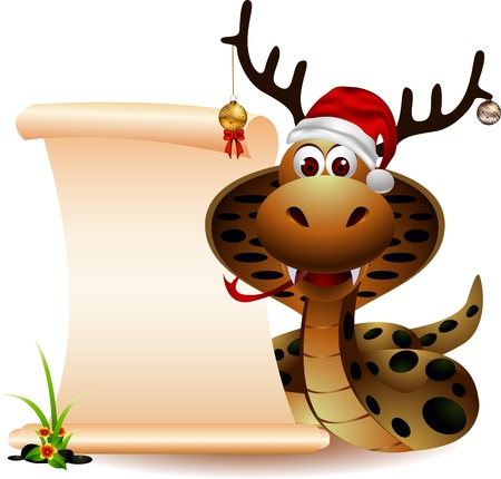 grass snake: cute christmas snake with blank sign