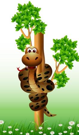 serpiente caricatura: serpiente divertida en el árbol