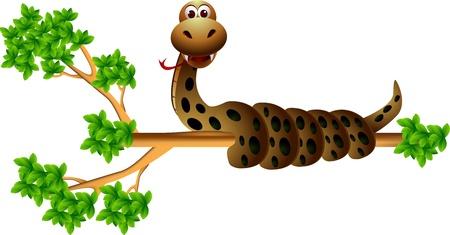 grass snake: snake on the tree
