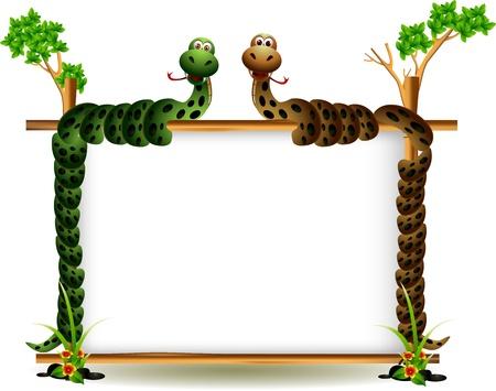 cartoon slang: grappige paar slang op de boom