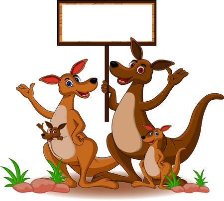family kangaroo with blank board Illustration