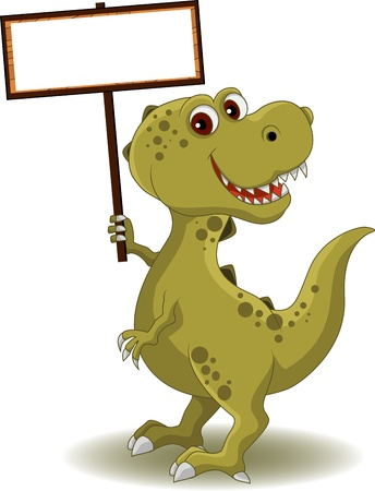 dinosaur cartoon: dinosaurio con cartel en blanco
