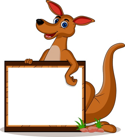 funny kangaroo with blank board