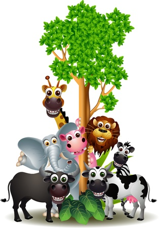 various funny cartoon safari animal Vector