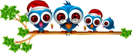 cute chritsmas blue birds family cartoon Vector