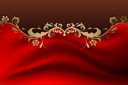 beauty vintage retro floral background with red color Stock Vector - 16593388