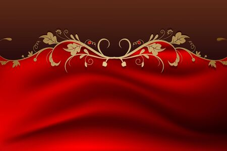 beauty vintage retro floral background with red color Vector