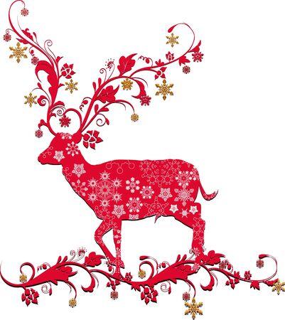silver circle: Natale cervo Vettoriali
