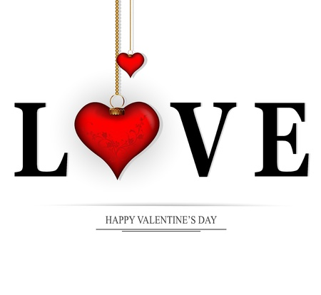 love card: decorating the word love for Valentine s Day  Illustration