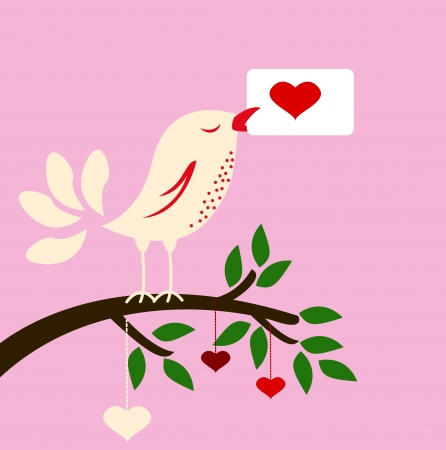 beauty illustration of bird with love card for you design Vector