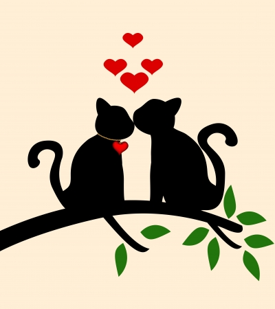 Cat love story Vector