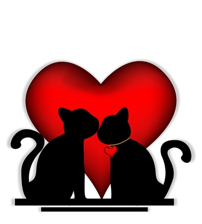 Cute cats in love Vector