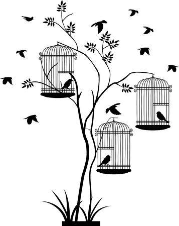 illustration flying birds with a love for the bird in the cage  Stock Vector - 16685466