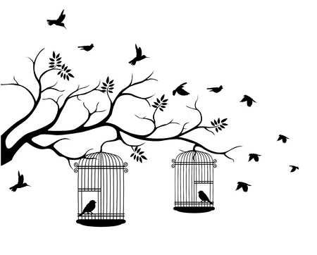 bird cage: illustration flying birds with a love for the bird in the cage