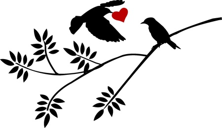 flying bird silhouette with a love for birds on a branch  Vector