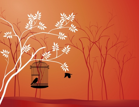 jail bird: illustration flying bird with a love for the bird in the cage