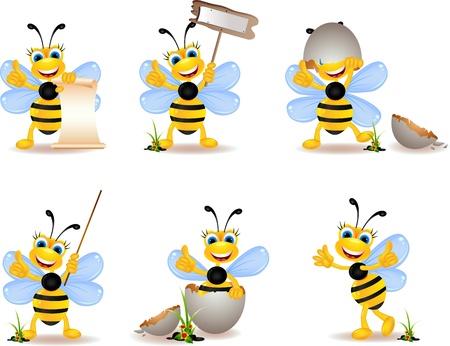 abejas panal: colección de dibujos animados lindo de la abeja Vectores