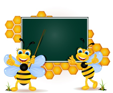 hive: happy bee cartoon with blank board