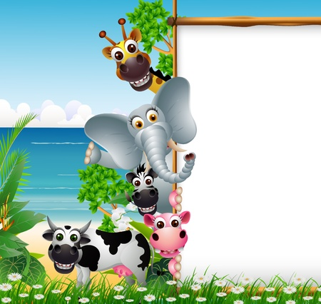 mandrill: Cartone animato animale selvatico africano con il segno in bianco e sfondo spiaggia Vettoriali