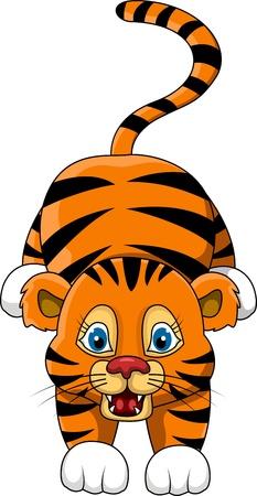 silueta tigre: lindo joven tigre de dibujos animados expresión Vectores