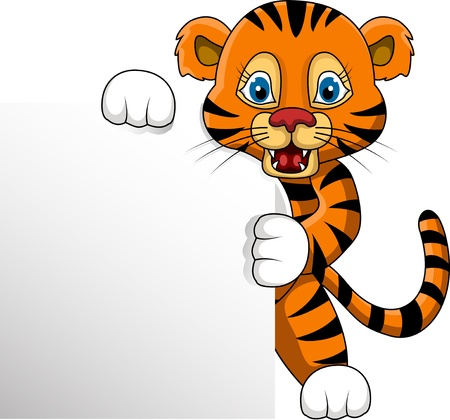 cartoon tiger: cute young tiger cartoon with blank sign