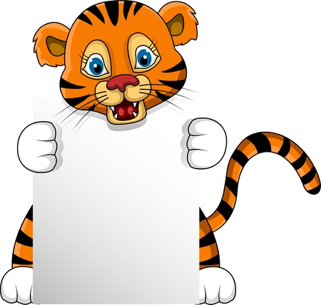 siberian: cute young tiger cartoon with blank sign
