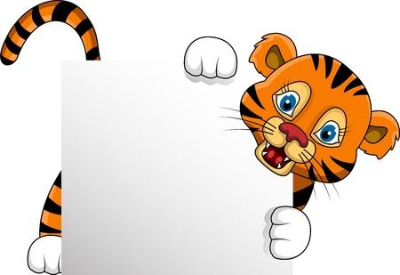 tigresa: lindo de la historieta del tigre joven con la muestra en blanco