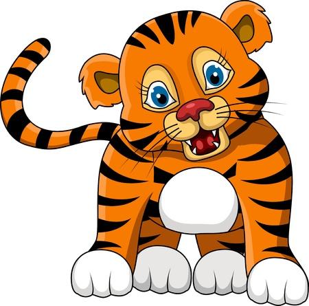 tigresa: lindo joven tigre de dibujos animados expresión Vectores