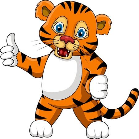 tigre bebe: lindo joven tigre de dibujos animados expresi�n Vectores