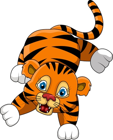 cute young tiger cartoon expression Illustration