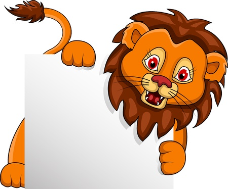 whisker: funny Lion cartoon with blank sign