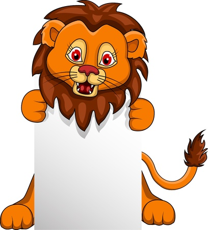 lion king: funny Lion cartoon with blank sign