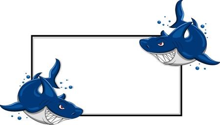 shark teeth: tibur�n enojado con cartel en blanco Vectores