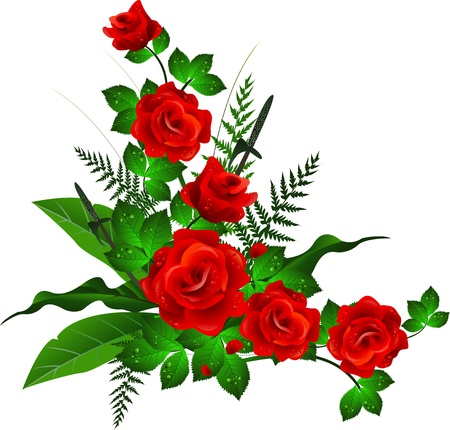 decoration with red rose Stock Illustratie