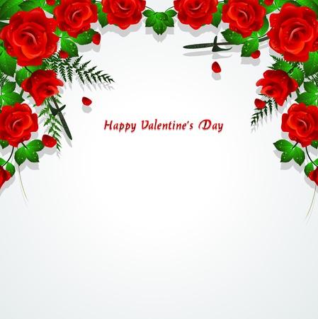 Rote Rosen mit Blättern Hintergrund Standard-Bild - 16850000