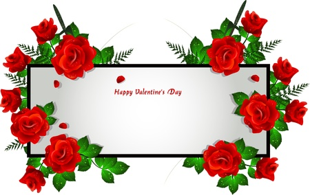 frame decoration with red rose Vector
