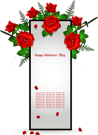 frame decoration with red rose Stock Vector - 16850003