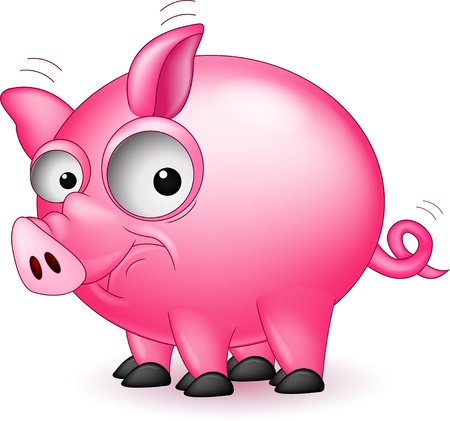 funny pig cartoon Stock Vector - 16881063