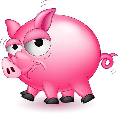 chancho caricatura: dibujos animados de cerdo divertido