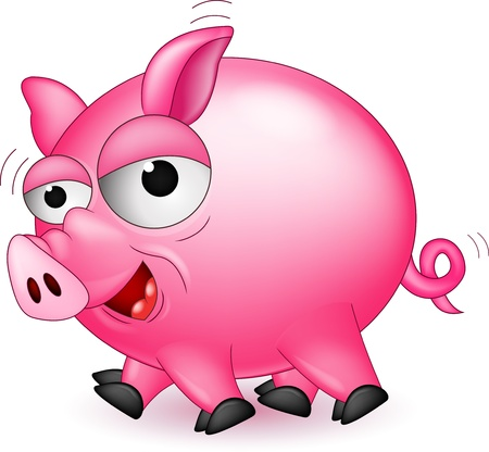 funny pig cartoon Stock Vector - 16881077