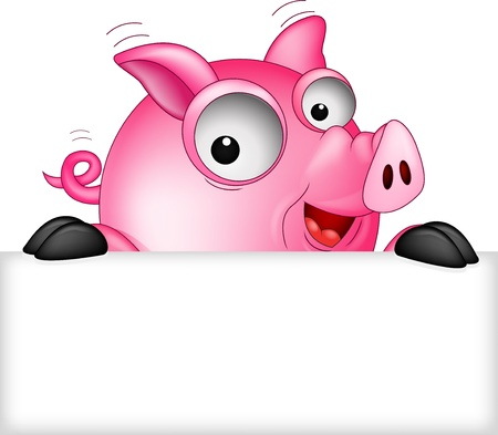 non urban: funny pig cartoon with blank sign