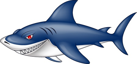 tiburon caricatura: tibur�n azul enojado