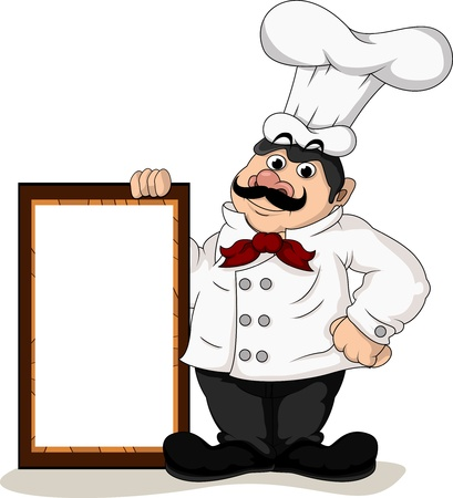 chef s hat: chef cook with blank board Illustration